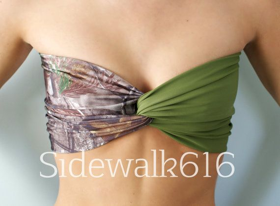 Real Tree Camo and Hunter Green Bandeau Top Spandex by Sidewalk616, $30.00