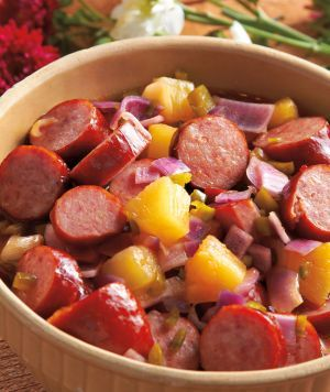 Named Mandy's Big Mess, it's a quick crockpot recipe for kielbasa sausage.
