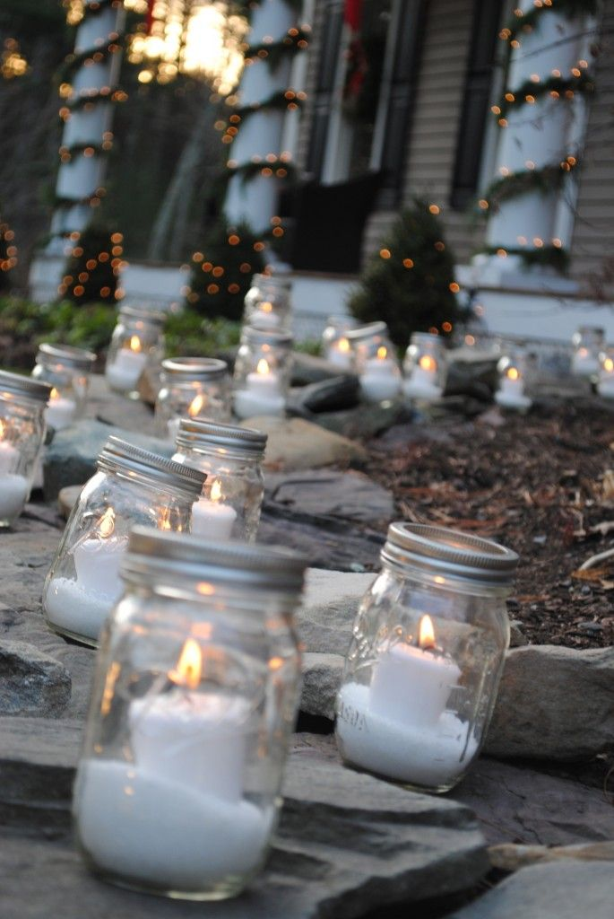 """Snow"" filled Mason Jar Luminaries: Fill mason jar with Epsom salt, place candle inside and line walkway to your house. If you wish to use the jar lid, use battery operated tealights or votives. They are equally beautiful...you can even find some that flicker."