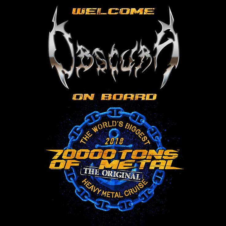 Technical death metal pioneers OBSCURA will be performing on board Round 8 of 70000TONS OF METAL, The Original, The World's Biggest Heavy Metal Cruise. Make sure you join us on board to witness two furious sets by these world class musicians as we sail to Grand Turk and back! #70000TONS