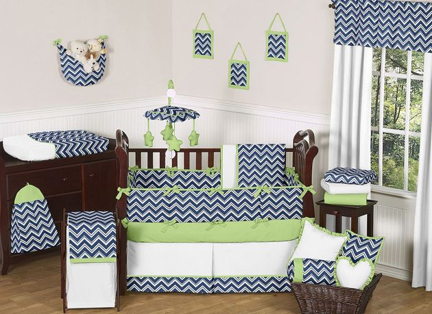 Green and navy nursery - link not good and need some other patterns or solids in here but like the chevron