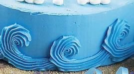 This is a great technique to use as waves on water or for beach scene cakes! For water, use blue colored icing — or try a two-tone look using blue and white icing in the same bag.