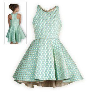 Turquoise and Gold Shimmer Tween Party Dress