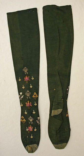 Stockings, British, wool silk, 1887