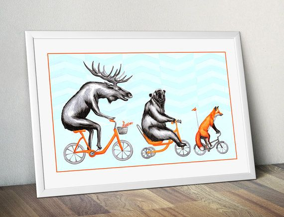 Moose, bear and fox on bicycle print, cycling animals, 12 x 18 print