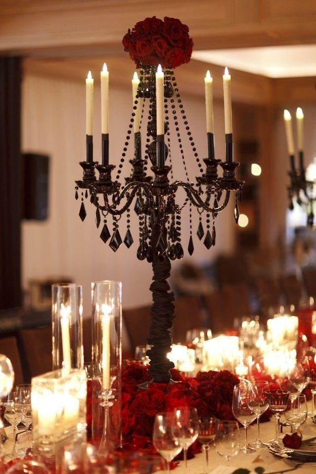 Schöner Wohnen, Kerzenleuchter Tafelaufsatz, Ideen Für Tischdekoration,  Kerzenständer, Kerzenständer, Errötete Rosen, Rote Rosen, Casamento, Kerzen