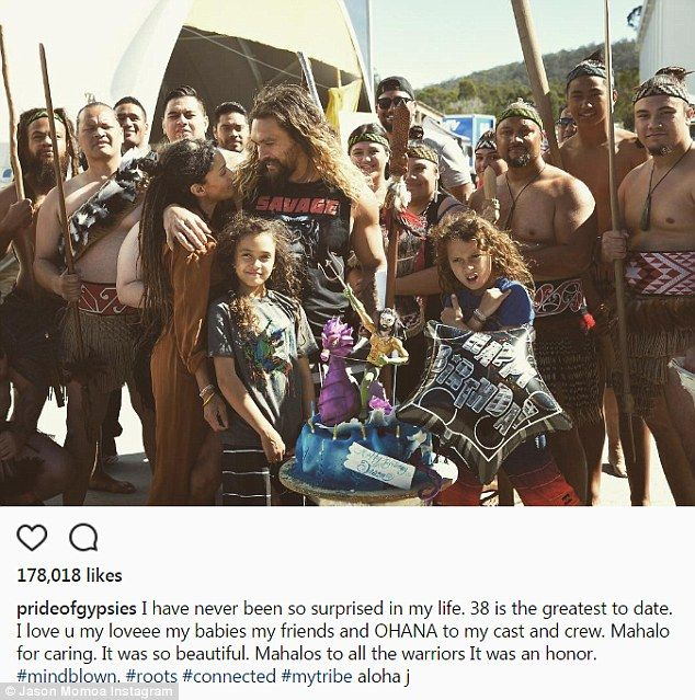 Mindblown! Jason Momoa was given a birthday surprise on set by his wife Lisa Bonet, 49, an...