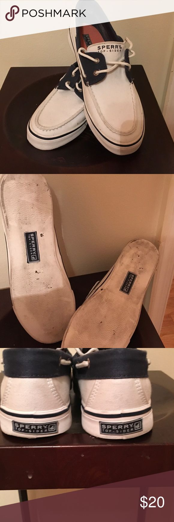 Canvas Sperry Topsider Boat Shoes Super cute canvas boat shoes. White with navy trim. Clean and in excellent condition. Only worn a handful of times. Size 10, but run narrow. Sperry Top-Sider Shoes Flats & Loafers