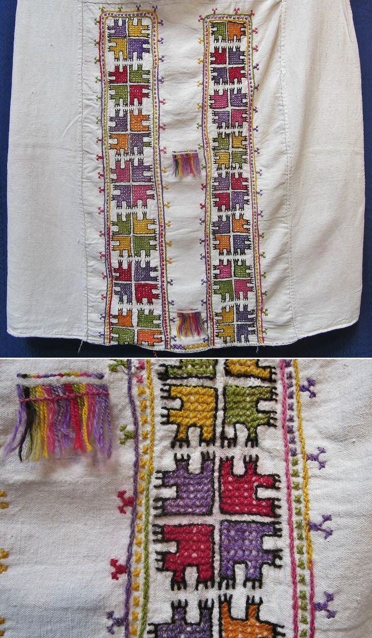Close-ups of the (wool on cotton) embroidered front of a 'göynek' (woman's under-dress).  From the Konya region, 1925-1950.  Ethnic group: (probably) Yörük. (Inv.nr. gnk007 - Kavak Folklor Ekibi & Costume Collection-Antwerpen/Belgium).
