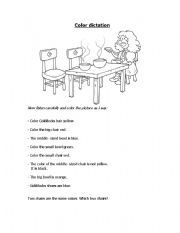 English worksheet: Goldilocks Colour dictation