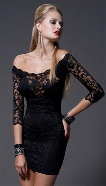 Kimikal kathleen off the shoulder lace v dress in black lace black