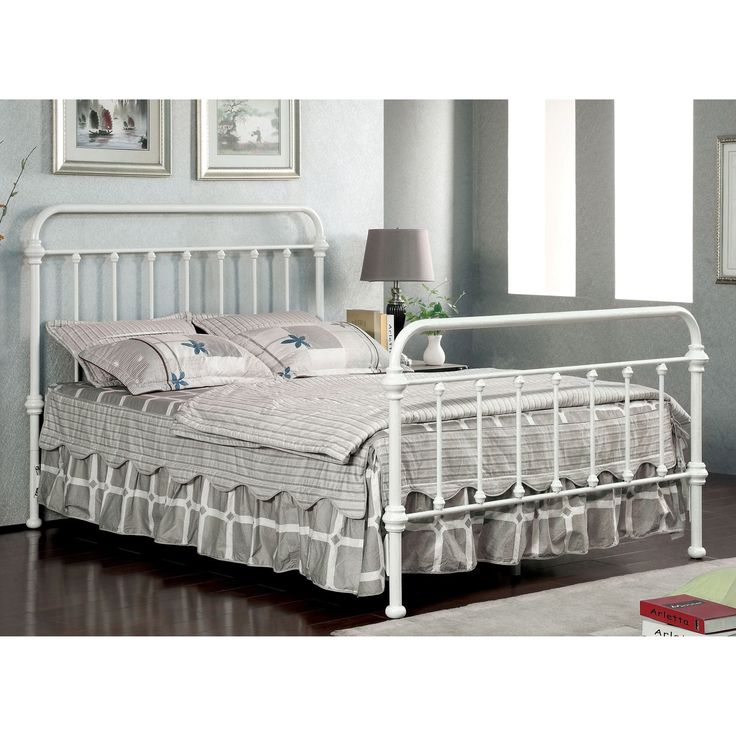Furniture of America Norielle Metal Platform Bed (Vintage White - Cal. King), Beige Off-White, Size California King