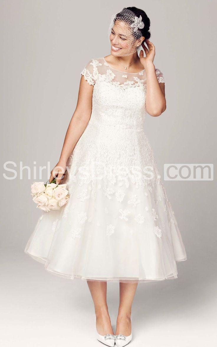 26 best wedding dresses images on pinterest plus size wedding tea length plus size wedding dress with cap sleeve illusion neckline ombrellifo Images