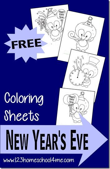 New Year's Eve Coloring Pages - Toddler, Preschool, and Kindergarten age kids will love these FREE coloring pages! They are perfect for kids to celebrate New Year's Eve kids activities.