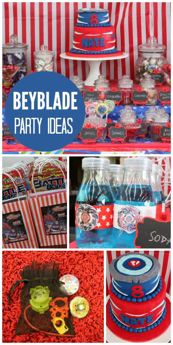 A Beyblade tournament for a boy birthday party with a fun cake and party favors! See more party ideas at CatchMyParty.com!