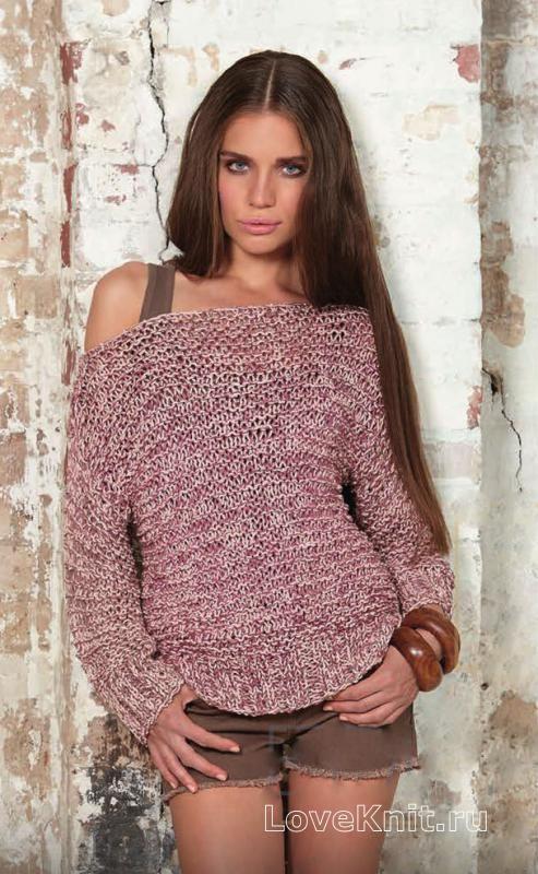 Спицами меланжевый пуловер с открытыми плечами фото к описанию