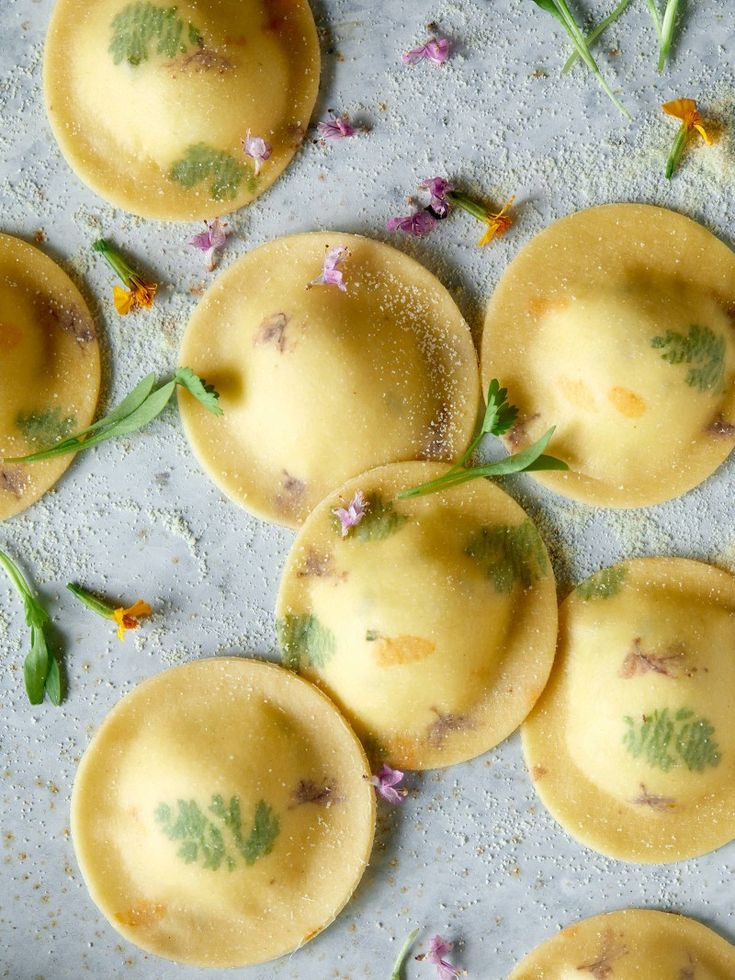 Floral Laced Ravioli with Cheesy Herb-Ricotta Filling