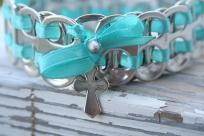 Blue Soda Tab Bracelet W/Cross Charm
