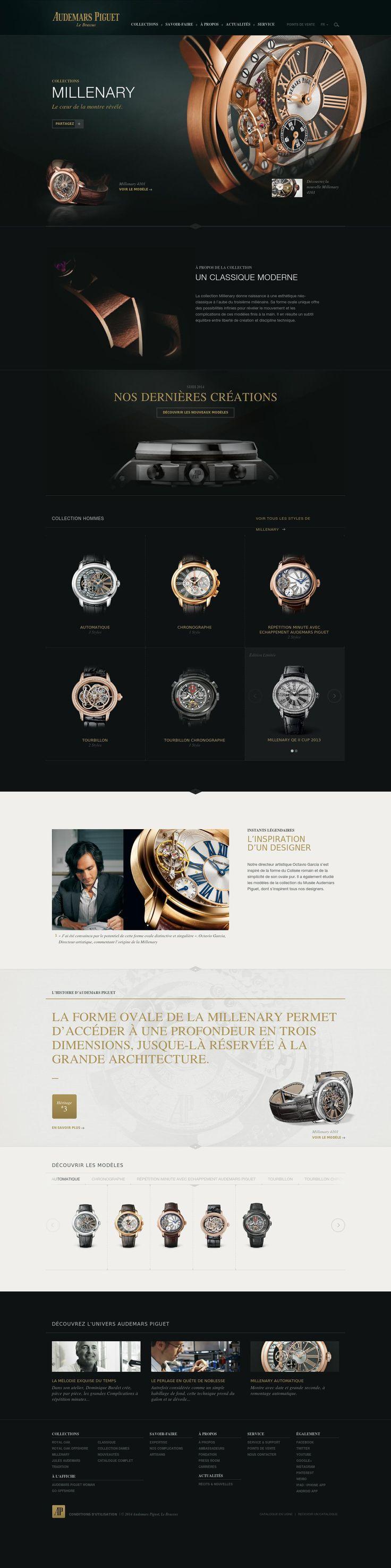 Audemars Piguet website // 상품을 강조한 검은색 배경의 웹디자인. 시계의 금속성 재질과 검은색이 조화로우면서 고급스러운 이미지를 만들어내는 것 같다. 역시 금속엔 검정