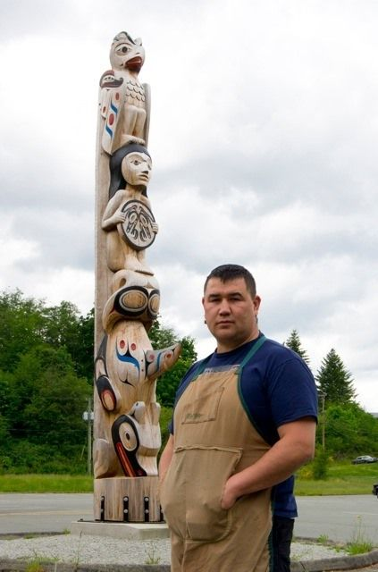 Totem Pole carved to commemorate residential school survivors. Commissioned by Tseshaht First Nation. The Pole resides in Port Alberni where the residential school used to be. Pole designed and carved by Tseshaht artist Gordon Dick with the guidance of Tim Paul and assistance of Erich Glendale and Alex Spence.   Northwest coast art and First Nations Art at Ahtsik Native Art Gallery.