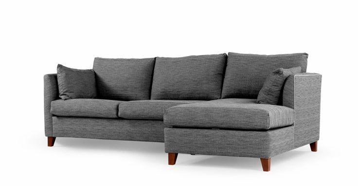 Bari, canapé-lit d'angle droit avec compartiment de rangement, matelas à mémoire de forme, gris graphite