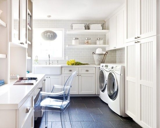 Laundry Room Office Hybrid With Light Gray Subway Tile Backsplash, White  Cabinets, Clear Desk