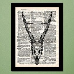 Deer Skull Dictionary Art Print