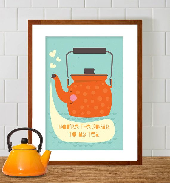 Scandinavian Teapot A3 Print Poster, Illustration of orange teapot with polka dots, Nursery Art, Home Decor