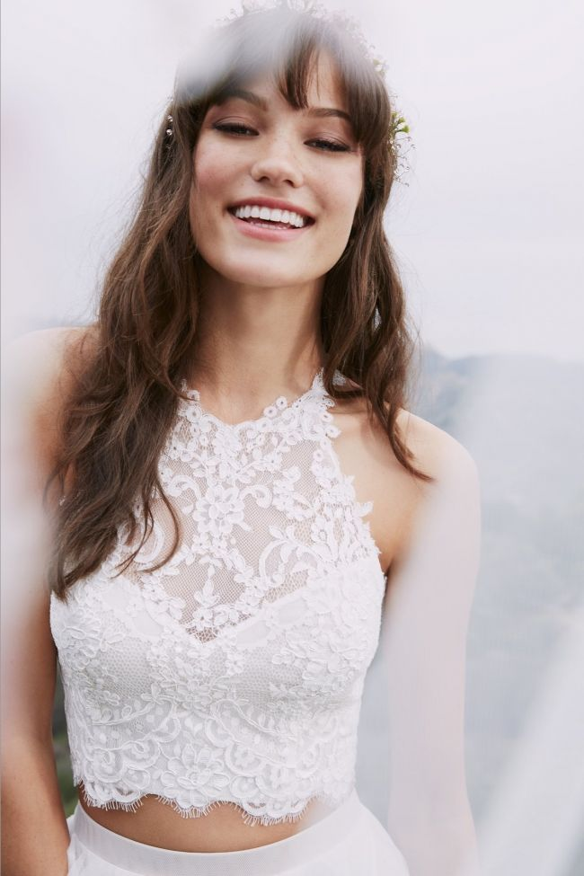 two piece wedding dress separates by willowby from watters. Crop top with separate lace skirt. #weddingdress #weddinggown