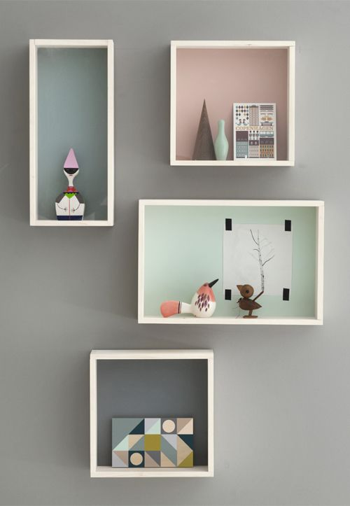 display boxes by ferm living. Love these colors. Maybe paint the back of  shadow boxes for Keegans room?