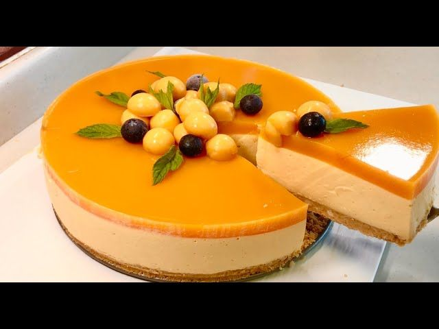 تشيز كيك المانغا شهية جدا ورح تعجبكم اتمنى تجربوها Mango Cheese Cake Cheesecake Food Desserts