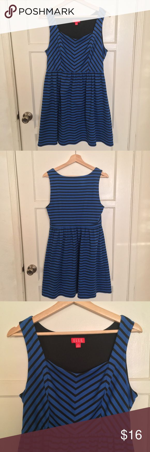 ELLE retro black and blue striped chevron dress Black and blue chevron strip dress in good condition. I adore this dress and always got compliments on it but sadly it doesn't fit anymore. It's got a little bit of stretch to it and it's very comfortable. Elle Dresses Midi