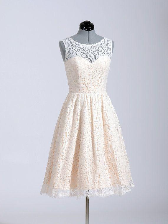 Short Pale Pink Lace Bridesmaid Dress Knee Length Straps Custom Ivory Lace Reception Dress Prom Dress Party Dress Formal Dress 2014