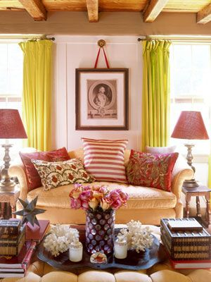 : Curtains, Decor Ideas, Colors Schemes, Cozy Living Rooms, Families Rooms, Sit Rooms, Design, Bright Colors, Pink Bathroom
