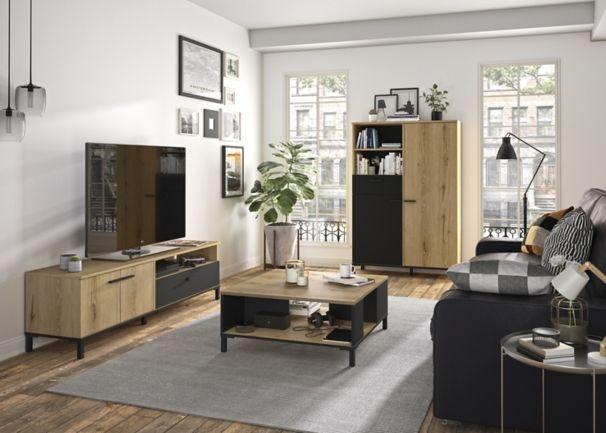 Buffet Haut 2 Portes 1 Tirorir Trust Chene Noir Armoire Tv Buffet Haut Meuble Tv