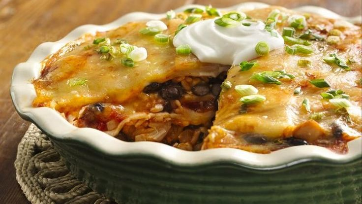 This main-dish chicken enchilada pie certainly stacks up—and it's ready in a flash, especially if you assemble it with Make-Ahead Shredded Chicken Breast.