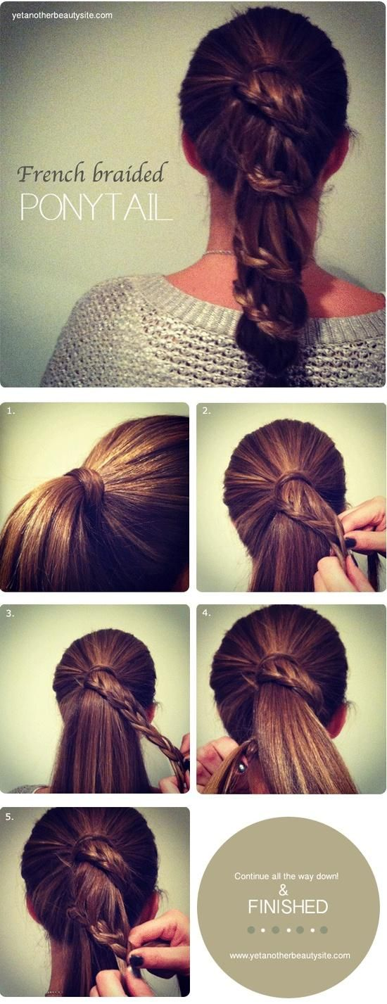 French braided ponytail; once i grow my hair out & master the waterfall braid then I will attempt this!