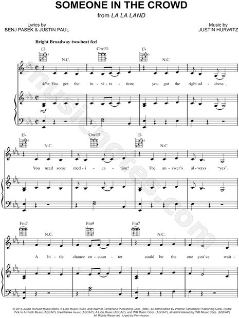 Print and download Someone in the Crowd sheet music from La La Land. Sheet music arranged for Piano/Vocal/Guitar in Eb Major (transposable).
