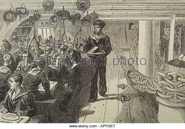 Dinner Eight Bells meal on board a Royal Navy training ship in 1880 - Stock Image