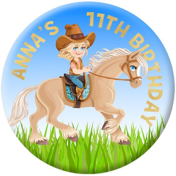 Horse / Pony Personalised Birthday Party Badge #923