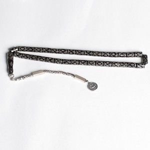 925 Ayar gümüş, kakma, osmanlı devlet armalı ve püsküllü oltu taş tesbih