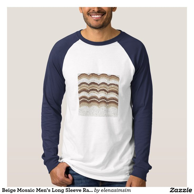 Beige Mosaic Men's Long Sleeve Raglan T-Shirt