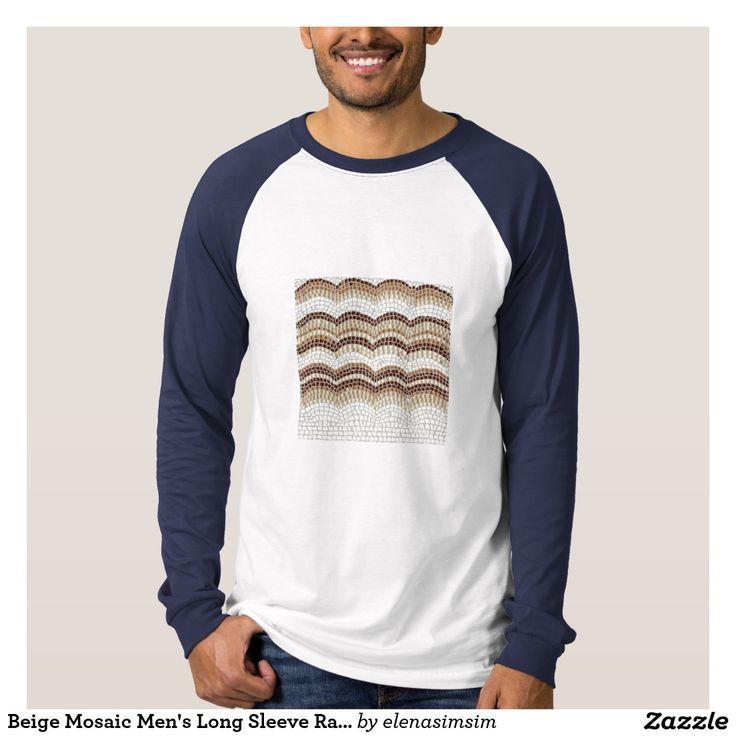 Beige Mosaic Men's Long Sleeve Raglan T-Shirt