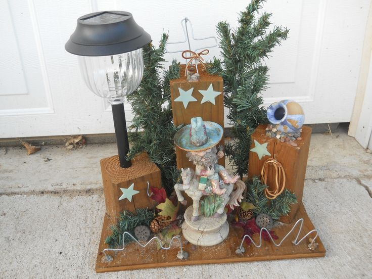 Solar Cowboy Light using recycled materials. I recycled