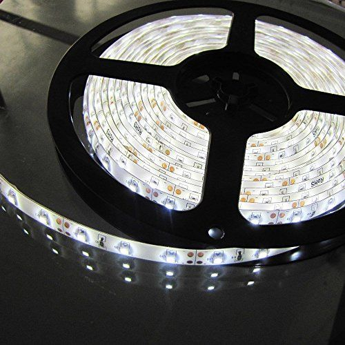cool Warm White LED Strip light, Waterproof LED Flexible Light Strip 12V with 300 SMD 5050 LED, 16.4 Ft / 5 Meter