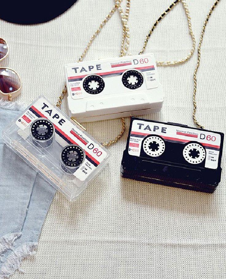 Cassette Tape Acrylic Mini Shoulder Messenger Bag