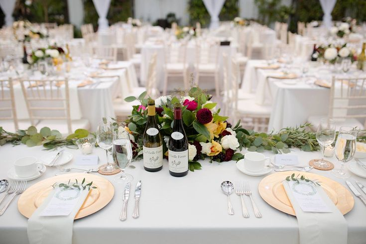 Aquatopia Weddings | Beautiful Bright Florals | Sweetheart Table Setting | Olive branches on each place setting