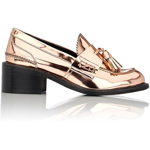 Stella McCartney Metallic Tasseled Loafer Pumps found on Polyvore featuring shoes, colorless, tassel loafers, pink metallic shoes, tassle loafers, slip on loafer and clear shoes