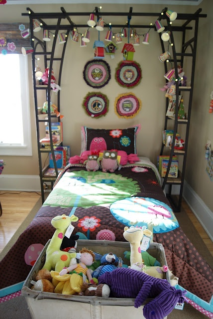 Garden Trellis as Bed Canopy and Shelves.  This site as a lot of DIY ideas.