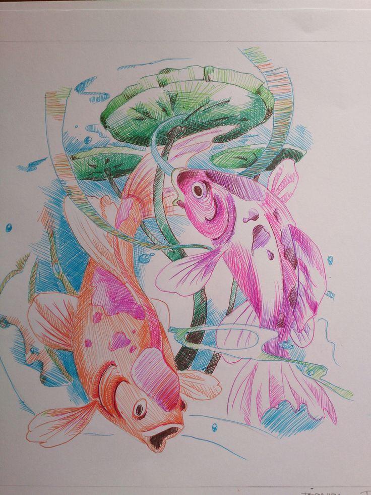 pez japones, boligrafo de colores.